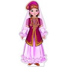 Плакат  вырубной. Девочка в татарском костюме.