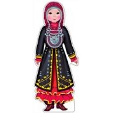 Плакат  вырубной. Девочка в башкирском костюме.