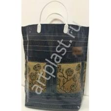 Пакет с пластм.ручками многослойный с карманами (Джинс с цветами) (50) 37х37х10 см