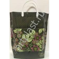 Пакет с пластм.ручками многослойный с карманами (Зеленые полосы) (50) 37х37х10 см