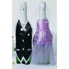 Украшение Одежда на шампанское (сиреневый)